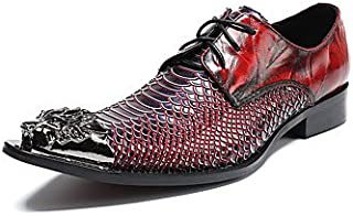 CLG-FLY Men's Shoes Real Leather Nappa Leather All Season Formal Shoes Comfort Novelty Oxfords Rivet Lace-up For Wedding Party & Evening Red