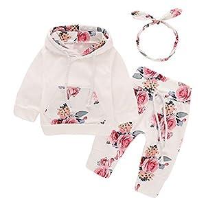 Bebé recién Nacido de Manga Larga con Capucha Floral Sudadera Tops + Pantalones Ropa Trajes (12-18 Meses, Blanco)