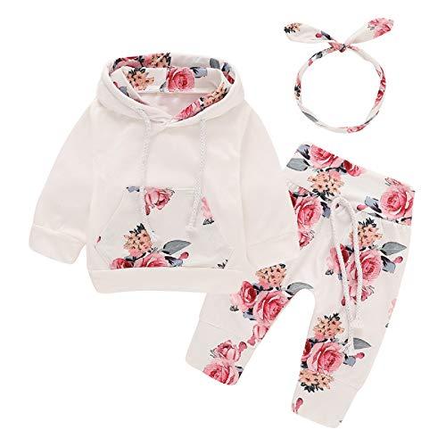 Bebé recién Nacido de Manga Larga con Capucha Floral Sudadera Tops + Pantalones Ropa Trajes (0-3 Meses, Blanco)