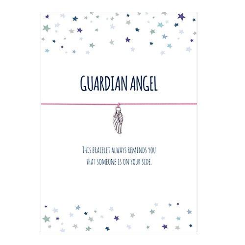 Glücksschmiedin Guardian Angel- Bracciale con ciondolo ali d'angelo argentato, cinturino in tessuto elastico in rosa e carta affettuosa in inglese