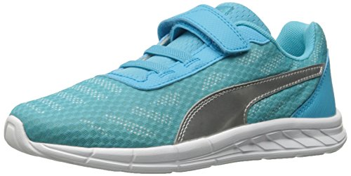 PUMA Meteor V PS Running Shoe, Blue Atoll Silv, 2 M US Little Kid