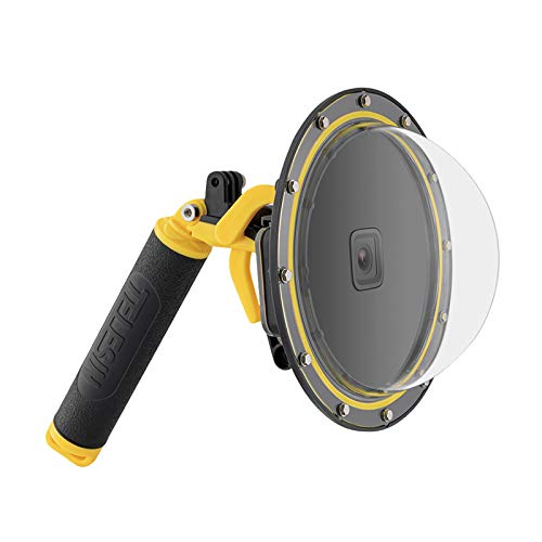 TELESIN Puerto domo para GoPro Hero 9 Negro, carcasa impermeable para lente de buceo funda transparente con disparador de pistola, agarre flotante para GoPro Hero 9 Accesorios para cámara de acción