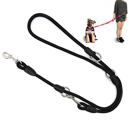 BPS Correa para Perro Mascotas Correa de Perro Doble Ajustable Varias Posiciones Perro Mediano Grande 2 Dimensión Elegir M/L (L, Negro) BPS-3801NE