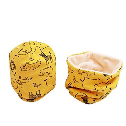 Boomly Autunno e Inverno Carino Neonato Bambino Spessa e Calda Outdoor Sciarpa del Cotone Cappello con Sciarpa Set Sciarpa e Berretto (Giallo#1, Medium)