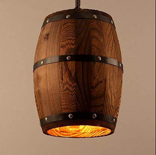 Candelabro de madera maciza retro del país Restaurante Sala de estar Dormitorio Estudio Candelabro de barril de vino de hierro forjado D26 * H33cm Yang1mn