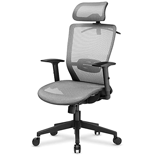 Lucklife Office Chair, Ergonomic Mesh Desk Chair with Lumbar Support Adjustable Arm Rests, High Back Computer Chair with Breathable Mesh Seat Cushion (Grey)