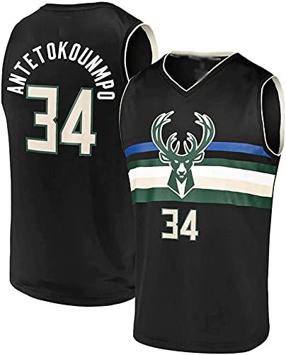 ZXC para Hombre Baloncesto Giannis Milwaukee Basketball Jersey Camiseta # 34 Antetokounmpo Bucks Secado rápido y Transpirable(M, Black)
