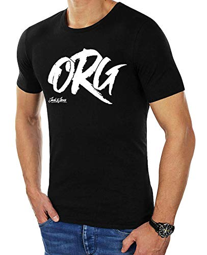 JACK & JONES Herren Sommer T-Shirt Jorartist Tee Ss Crew Neck Rundhals Kurzarmshirt Baumwolle T-Shirt mit Logo-Print Männer Shirt O-Neck (L, Schwarz (Black fit:Regular))