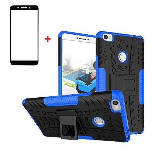 XINYUNEW Funda Xiaomi Mi MAX 2, 360 Grados Protective+Pantalla de Vidrio Templado Caso Carcasa Case Cover Skin móviles telefonía Carcasas Fundas para Xiaomi Mi MAX 2-Azul