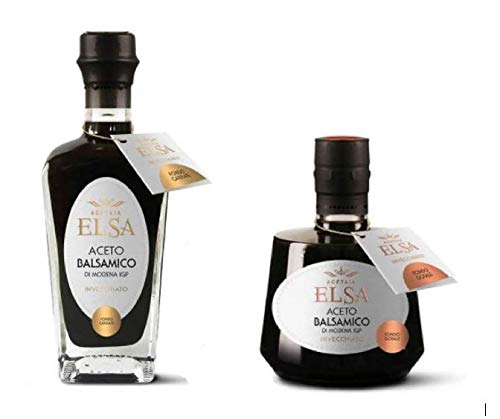 Elsa Balsamic Vinegar of Modena Gift Set, Aged 6 Year Bottle and Aged 12 Year Bottle, Pack of (2) 8.4 Ounce Bottles