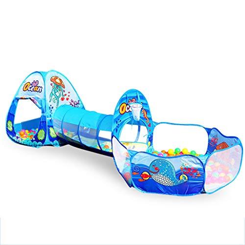 CSQ 3 in 1 Zelt, Tunnelzelt Multifunktionale Ball Pool Kinderzelt Kombination Klapp Super Light Zelt/for 0-3 Jahre Spielhaus für Kinder (Color : Blue)