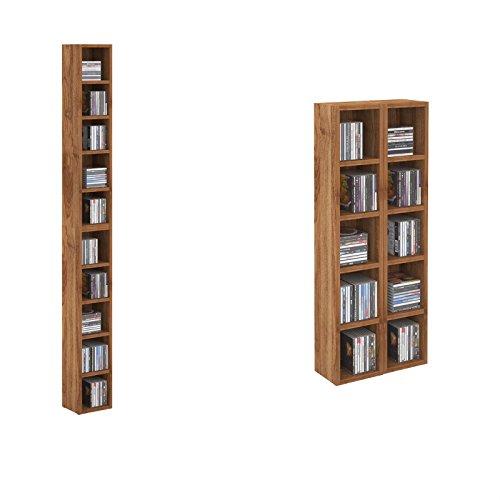 CARO-Möbel CD DVD Regal Standregal Medienregal Chart in nussbaum mit 10 Fächern für bis zu 160 CDs, 20x186,5 cm (Breite x Höhe)