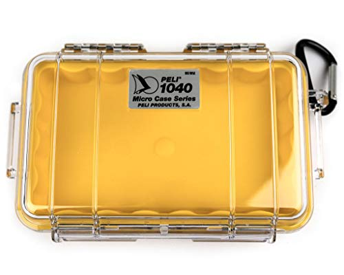PELI 1040 Micro Case, Protective Case for Mobile Phone and Small Gear, IP67 Watertight, 2L Capacity, Made in US, Clear/Yellow Liner
