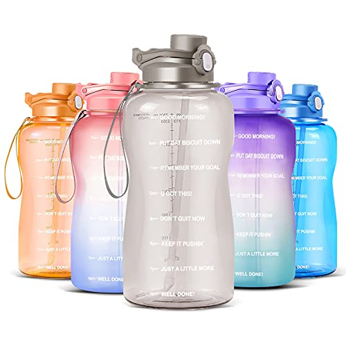 Jtframe Large 1 Gallon Motivational Water Bottle, 128oz with Time Marker & Leak proof BPA Free for Fitness, Water Bottle with Hydrating Straw,Ensure You Drink Enough Water Throughout The Day(Grey)