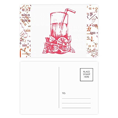 Sap Citroen Aquarel Illustratie Patroon Formule Postkaart Set Thanks Card Mailing Zijkant 20 stks