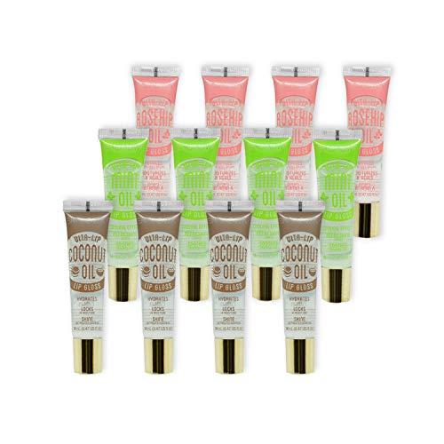 KISS Broadway Clear Lip Gloss 0.47oz/14ml 12Pcs (Coconut, Mint and Rosehip Oil)