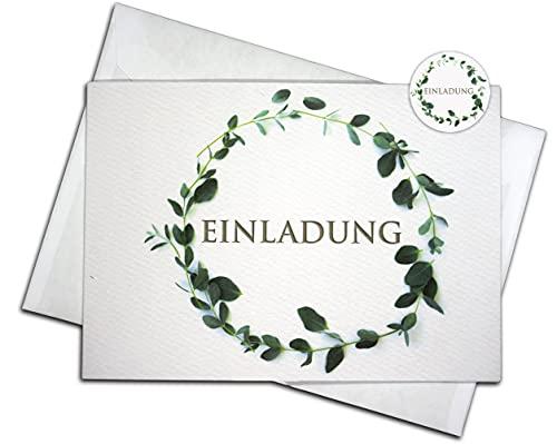 """15 Einladungskarten & 15 Umschläge & 15 Sticker – Klappkarten SET\""""Eukalyptus\"""", Geburtstag, Hochzeit, Taufe, Konfirmation, Kommunion, Einladung, Fest, Erwachsene, blanko"""