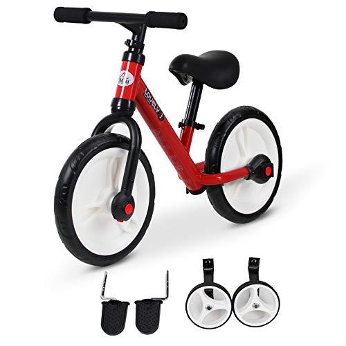 HOMCOM Vélo Enfant draisienne 2 en 1 roulettes et pédales Amovibles Roues 11' Hauteur Selle réglable Acier Rouge