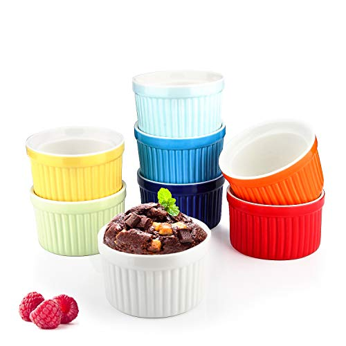 Colorful Ramekin Bowls 8 PCS,4 OZ Bakeware Set for Baking and Cooking, Oven Safe Sleek Porcelain Ramikins for Pudding, Creme Brulee, Custard Cups and Souffle Small instant table tray