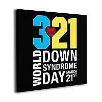 World Down Syndrome Day ダウン症 March 21st アートパネル アートフレーム フレーム装飾画 壁掛け インテリア 現代 簡潔なファッション 壁アート ウォール装飾 ポップ 美しい アートポスター ダイニング お風呂 オフィス バー 部屋飾り ソファの背景絵画 贈り物 取り付けやすい 正方形