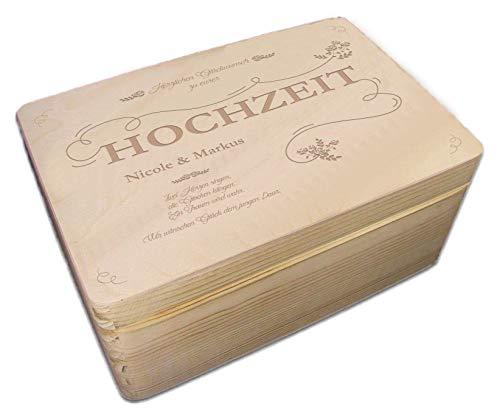MidaCreativ Hochzeits-Holz-Geschenkbox m. Deckel Gr. 1 Kiefer incl. Auswahl-Lasergravur (r15)