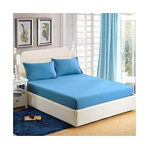 MZP Una Pieza Sabanas Bajeras Ajustable Color Sólido Microfibra de poliéster Sábana Bajera Tela Transpirable Suave Cómoda Bolsillo Profundo 30cm Bed Sheets (Color : Blue, Size : 150x200cm)