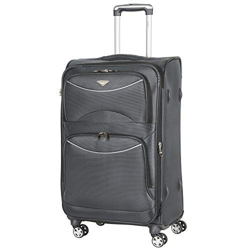 Flight Knight Lightweight 8 Wheel 1680D Soft Case Suitcases Maximum Size for Delta, Virgin Atlantic Airlines Cabin & Hold Luggage Options Approved for 48 Airlines Including easyJet, BA & Many More