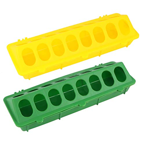 Balacoo 2Pcs Plastic Flip Top Chicken Feeders No Waste - Poultry Feeding Tray with Holes Poultry Trough Tool for Home Farm, Chicken Supplies