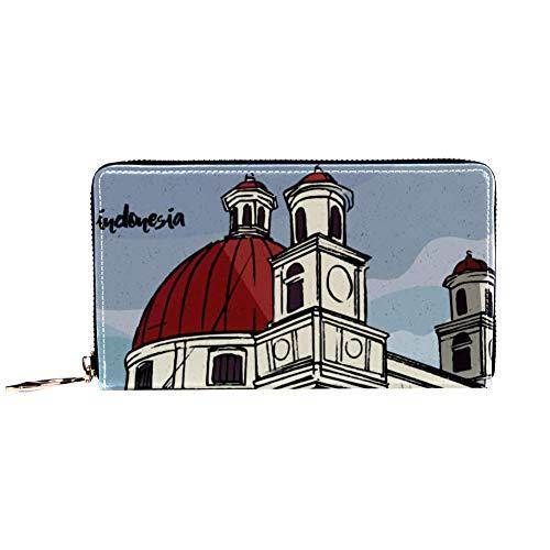 XCNGG Cartera con Cremallera Alrededor de la Mujer y Embrague para teléfono, Bolso de Viaje, Bolso de Mano de Cuero, Tarjetero, Organizador, muñequeras, Carteras, Colonial Vintage Semarang Indonesia