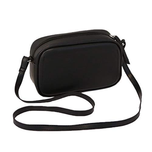 Andouy Damenmode Allzweck-Volltonfarbe Kleine Quadratische Tasche Einzelne Schulter Messenger Bags(Schwarz)