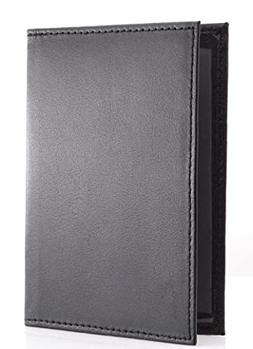 Festland DESIGN® Echt Leder Fahrzeugschein Hülle Ausweishülle Zulassungsschein Führerschein Hülle Ausweismappe Fahrzeugscheinmappe Schwarz mit 2 Sichtfenstern (Schwarz)