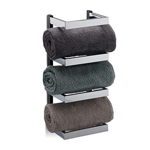 Relaxdays, Silber/schwarz Handtuchregal Design, Fächer für Handtücher, Chrom, Handtuchablage...