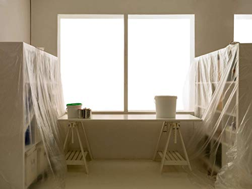 Sinzau 7.9 x 49 feet Dust Sheet Roll, Dust-Proof & Waterproof Shields for Painting, Decorating, Furniture Covering