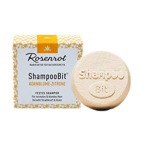Rosenrot Naturkosmetik - ShampooBit® - festes Shampoo Kornblume-Zitrone - 55g - Für normales & blondes Haar. Verleiht Strahlkraft & Glanz.