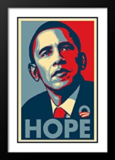 ArtDirect Barack Obama 20x26 Framed and Double Matted Rare Campaign Poster - Hope
