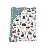 Bebe au Lait Nautical Seagulls Oh-So-Soft Muslin Super Snuggle Blanket, Blue, One Size
