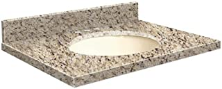 Samson G4919-F2-A-B-8 Granite Vanity Top 49x19 with Single Undermount Biscuit Bowl 8-Inch Eased Edge Giallo Ornamental