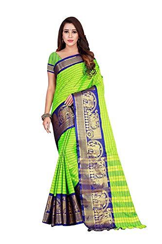 CRAFTSTRIBE Algodón Arte Seda Embrolairy Frontera Trabajo Dorado Marrón y Vino Moda Moda Sari para Mujeres, Verde lima y azul, talla única