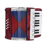 Hellery Acordeón, 17 Teclas, 8 Botones de Bajo Acordeón Instrumento Musical/Juguete - rojo, como se describe