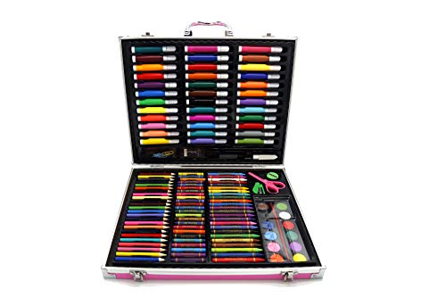 YQSWXZQP Fine Art Deluxe Art Set, which Contains Artistic Oil Painting Stick and Crayons, Acrylic and Watercolor Paints, Sketch Pencils and Colored Pencils, and More Art Supplies. (Pink)