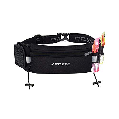 Fitletic Ultimate II Running Belt for Men and Women, Patented No Bounce Pouch for Ironman, Marathon, Trail, Endurance, Cycling, Race Belt Bib Holder, Hold Phone and Fuel Packs, Black