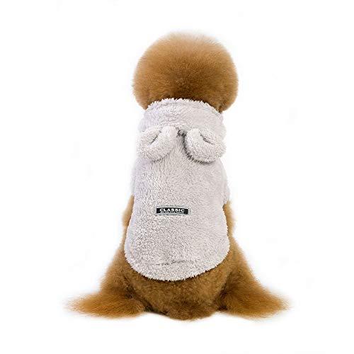 Etophigh huisdier-winter-kostuum-koraal-fluweel hoodie voor kleine middelgrote honden, hondendiktemantel met traagheid dragen berenvorm/konijnen-big ears doggy-pullover, Medium, grijs
