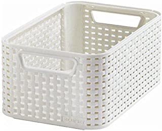 CURVER | Rangement Style Aspect rotin S, Ivoire, Storage Others, 28,5x19,4x13 cm
