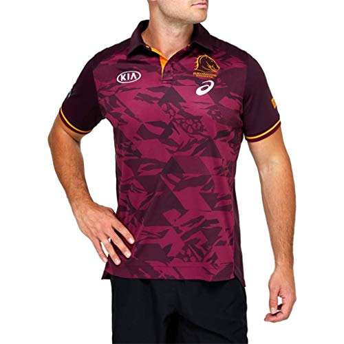 LQWW 2020-21 Brisbane Broncos Rugby Jersey,Sports for Men Polo T-Shirt Short Sleeved Sportwear Running,4XL