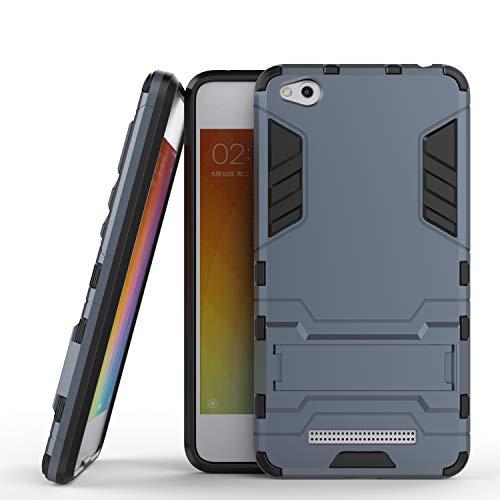 COOVY® Cover für Xiaomi Redmi 4A Bumper Hülle, Doppelschicht aus Plastik + TPU-Silikon, extra stark, Anti-Shock, Standfunktion | Farbe Navyblau