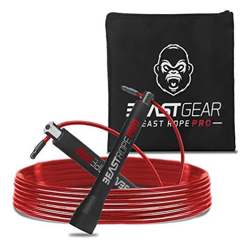 Beast Gear - Beast Rope Pro Profi Springseil - Speed Rope für Fitness, Ausdauer & Abnehmen. Ideal für Crossfit, Boxen, MMA, HIIT, Intervalltraining & Double Unders