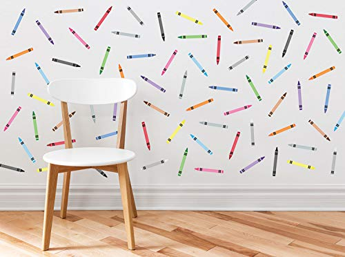 Sunny Decals Mini Crayons Fabric Wall Decal- Set of 72 Mini Crayons with 9 Colors. Repositionable. Reusable. Non-Toxic.