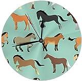 azalea store con caballo en estilo plano. Clock Silent - Reloj de pared (redondo, sin tic tac, 9,84 pulgadas)