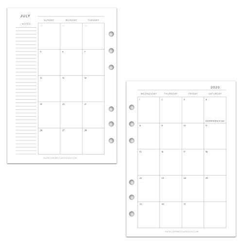 July 2020 - June 2021 Academic Monthly Calendar for A5 Planners, fits Filofax, Kikki K, Carpe Diem Planners, 6 Ring binder, 5.8' x 8.3' Classic (Planner Not Included)