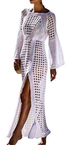 Wander Agio Beach Tops Sexy Floral Cover Dresses Bikini Cover-ups Net Long Skirt White